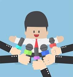 Media microphones held in front of business man vector