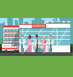 medical team doctors and nurses hospital vector image