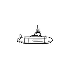 military submarine hand drawn outline doodle icon vector image