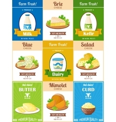 Milk Products Poster Set vector