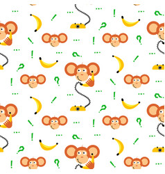 Monkey kid with banana seamless pattern for vector