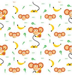 monkey kid with banana seamless pattern vector image