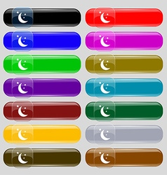 Moon icon sign Set from fourteen multi-colored vector