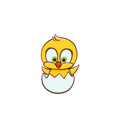 newborn easter baby chicken character in egg shell vector image