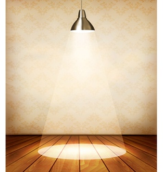 Old room with wooden floor and a spotlight vector