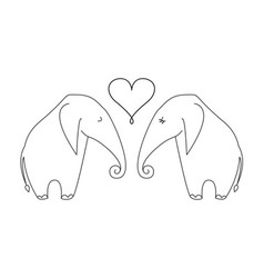 One line elephant couple in love vector