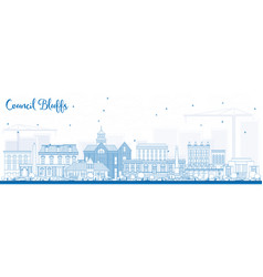 Outline council bluffs iowa skyline with blue vector