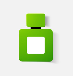 Paper clipped sticker bottle perfume cologne vector