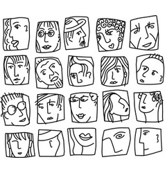 people abstract faces avatars characters black and vector image
