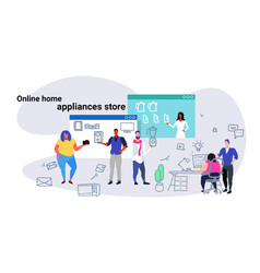 people doing online shopping home appliances shop vector image