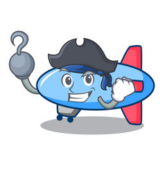pirate zeppelin character cartoon style vector image