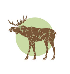 Polygonal abstract elk wild animal side view vector