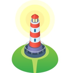Red and white striped cartoon style lighthouse vector