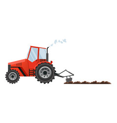 red farm tractor cultivates land heavy vector image