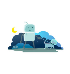 Robot character astronaut man walk night moon vector