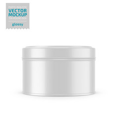 round glossy tin round box template vector image