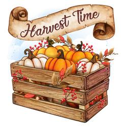 rustic watercolor wooden crate with pumpkins vector image