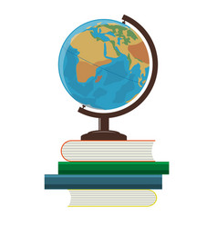 School globe and books on a white background vector