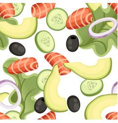 Seamless pattern vegetables salad recipe seafood vector