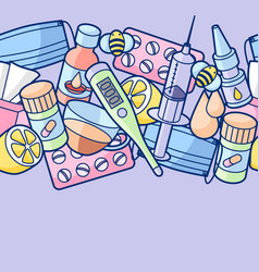Seamless pattern with medicines and medical vector