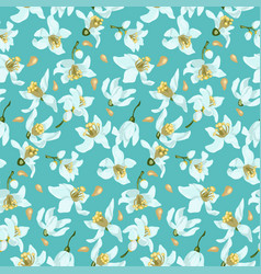 seamless pattern with seeds and citrus tree vector image