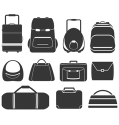 Set gray isolated bag vector