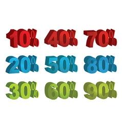 Set of 3d sale percents vector