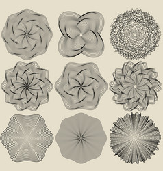 Set of elements for design round rosettes vector