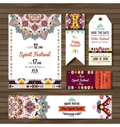 Set of geometric boho flyers decorative vector