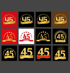 set of number forty-five 45 years celebration vector image