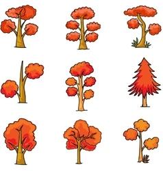 Set of orange tree doodles vector