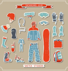 Set of paper snowboard gear design elements vector