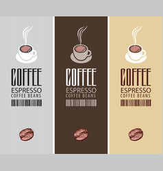 Set three labels for coffee beans vector