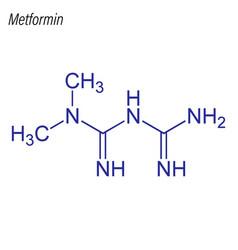 Skeletal formula metformin drug chemical vector