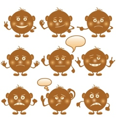smilies round set brown vector image vector image