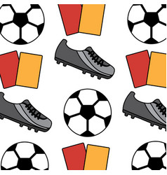 soccer shoe ball cards seamless pattern vector image