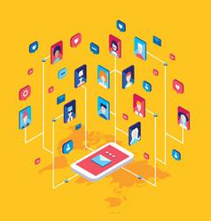 social network technology concept global vector image