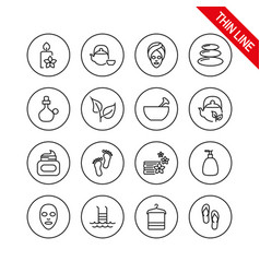 spa icons set editable thin line vector image