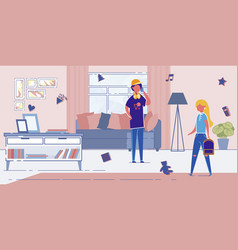 teen children coming home after school lessons vector image