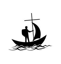The follower of jesus christ floats in the boat vector