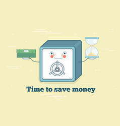 time to save money concept in line art style vector image