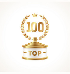 Top 100 award cup golden award trophy vector