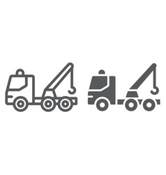 Tow truck line and glyph icon transport and vector