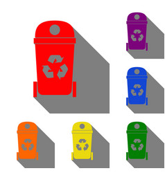 trashcan sign set of red orange vector image