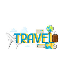 Travel concept with tourist items and vector