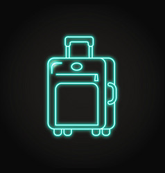 Travel suitcase icon in neon line style vector