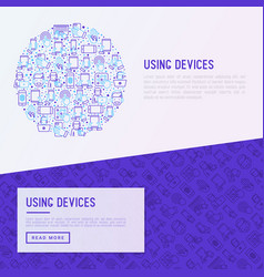 using devices concept in circle with thin line ico vector image