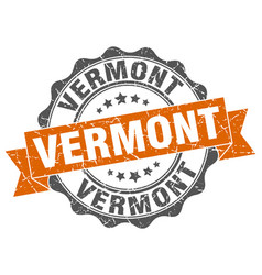 Vermont round ribbon seal vector