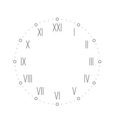 vintage clock face with roman numbers dots mark vector image