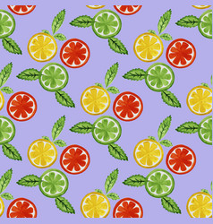 Watercolor seamless pattern with citrus vector